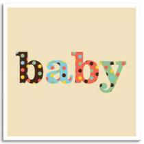 Greeting Card KatyJane Designs Baby card - beige spotty